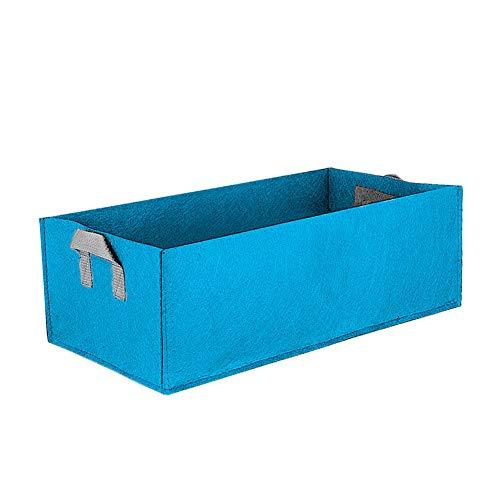 Dogggy - Maceta de tela elevada para plantación de plantas cuadrada, protección del medio ambiente, bolsas de cultivo, macetas, plantas y flores, 1 unidad, Azul grande