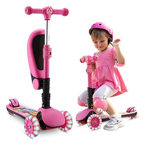 AOODIL Monopattino 2-in-1 per Bambini, Scooter a 3 Ruote con Sedile Pieghevole/Rimovibile Ruote Luminose Regolabili in Altezza per Bambini e Ragazzi dai 2 ai 12 Anni