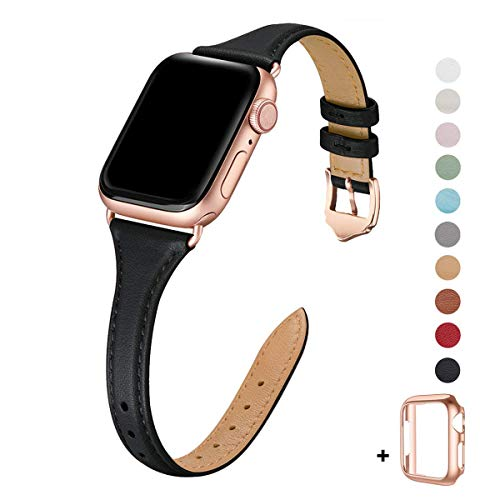 WFEAGL Leather Bands Compatible with Apple Watch 38mm 40mm 42mm 44mm, Top Grain Leather Band Slim & Thin Wristband for iWatch Series 5 & Series 4/3/2/1 (Black Band+Rose Gold Adapter, 38mm 40mm)