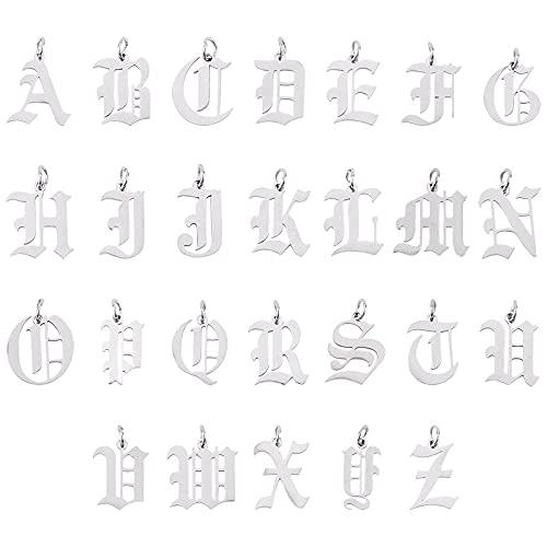 UNICRAFTALE 26pcs Colgantes de Letras de Metal,Dijes de Letras AZ de Acero Inoxidable con Anillo de Salto Y Corte Láser En Colgantes Ingleses Antiguos para Pulseras, Collares Y Pendientes Fabricación