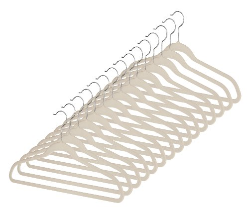 Whitmor Flocked Suit Hangers Set of 15 Beige