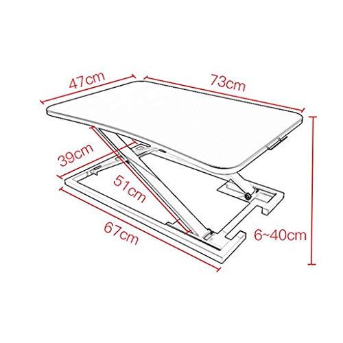 Sit-Stand alternatieve werkbank, gratis installatie bureau werkbank, gebruikt om de hoogte van de monitor te verhogen, 73x47x40cm 1-16 Kleur: wit