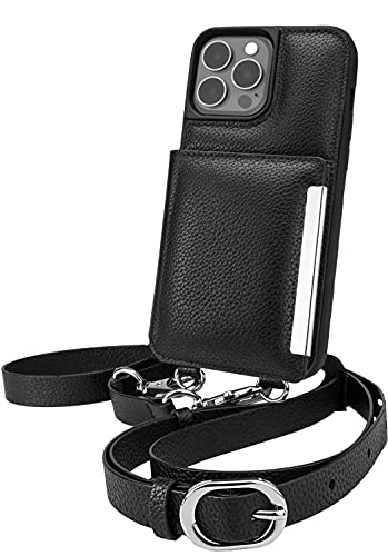 Smartish iPhone 13 Pro Max Crossbody Wallet Case - Dancing Queen [Purse/Clutch with Detachable Strap & Wristlet] Protective Cover with Credit Card Holder - Stiletto Black-Silver