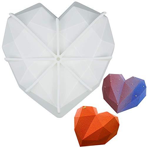Rosepoem Silikon-Formen 3D Mousse DIY Form für Kuchendekoration Gelee-Pudding-Bonbons Schokoladenherz, Silikon, Herzform