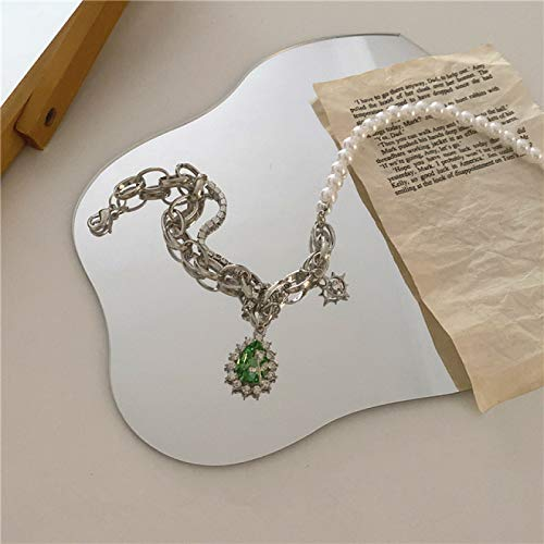 FLLXSMFC Collar de perlas de 39 cm de cadena de metal asimétrico perlas gotas de agua verde taladro colgantes collar de perlas collar doble collar vintage