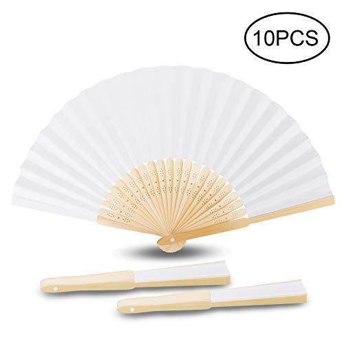 Samione Handfächer, Weisse Chinesische Leeres Papier Fans DIY Papierhand Folding Fan Hochzeit Faltfächer Kirche Kinder Geschenk(10er)