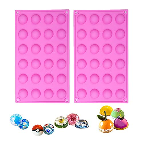 BAKER DEPOT Bakeware Set Small Dome Silicone Mold for Cake Decorating Jelly Pudding Candy Chocolate Semicircle Silicone Mousse Mold (round 24 holes mold 2 pcs)