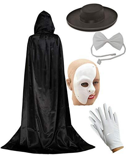 labreeze Phantom of The Opera Theatre Masquerade - Juego de máscaras, Sombreros, Pajaritas y Pajaritas