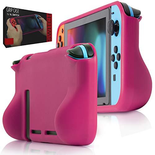 Orzly Funda Comfort Grip Case para la Nintendo Switch – Carcasa Protectora con puños de Mano Rellenos Integrados para la Parte Posterior de la Consola Nintendo Switch en su Modo Gamepad - Rosa