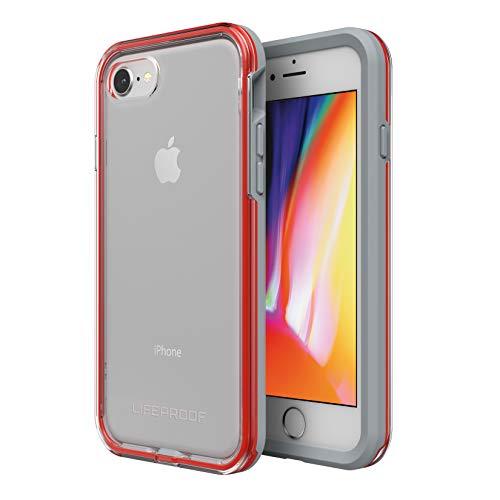LifeProof Slam - Funda Anti Caídas Deportiva para Apple iPhone SE 2020/8/7, Contorno Gris y Rojo, Trasera Transparente