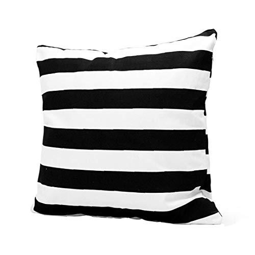 Cojines, 45x45cm Negro Rayas Blancas Almohada, Moderno Lino Cubiertas de colchón, Fundas de Almohada de Tiro Decorativa del sofá del Dormitorio de Coches Sala Dormitorio