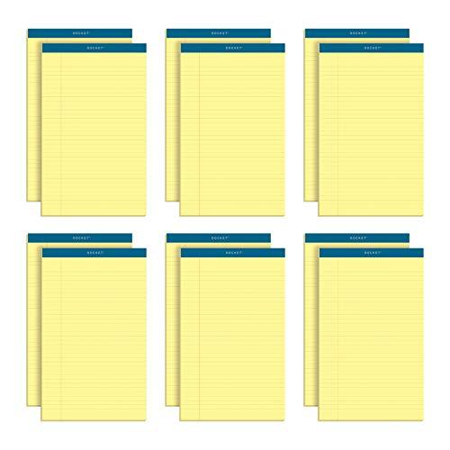 TOPS Blocos de escrita Docket, 21,5 cm x 35,5 cm, pauta legal, papel canário, 50 folhas, pacote com 12 (63580)