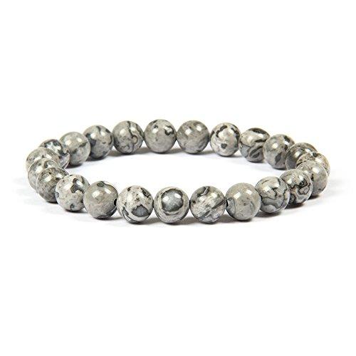 Good.Designs Bracelet de Perles de Chakra en Jaspe sédimentaire Marin de 8 mm ou 10 mm, Pierres Naturelles, Bracelet Chakra en Jade pour Homme et Femme. (Gris / 8mm)