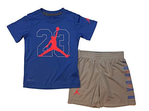 Jordan Air - Camiseta y pantalones cortos para niño (2 piezas, color ahumado claro (855945-G6U)/rosa, 6)