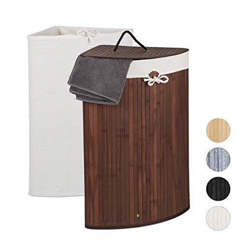 Relaxdays Eckwäschekorb Bambus, Faltbarer Wäschesammler mit Deckel, 60 Liter, 2 Wäschesäcke, 66 x 49,5 x 37 cm, braun