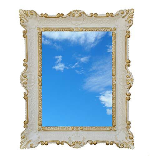 Ideacasa Miroir grand miroir blanc or style baroque vénitien imitation vintage 59 x 46 cm