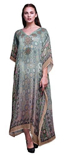 Phagun Damasco y de la Mandala étnico señoras Tallas Grandes Kaftan Ropa de Verano Encubrimiento Kimono caftán-S-L