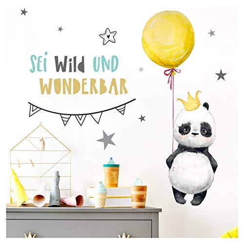 Little Deco Aufkleber Kinderzimmer Panda mit Spruch Sei wild I 89 x 55 cm (BxH) I Luftballon Wandtattoo Junge Mädchen Wandaufkleber Tiere Wandsticker Babyzimmer Kinder Sticker DL207-5