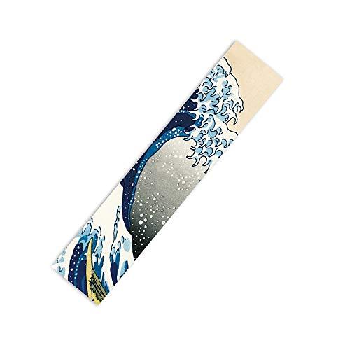 """Rayauto 47""""X10"""" Sport Outdoor Electric Skateboard Longboard Dancing Board Double Rocker Board Waterproof Diamond Griptape Sheet Sticker Deck Sandpaper (Sea Wave)"""