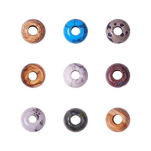 PandaHall 20 Stück Runde Edelstein Europäische Perlen mit Große Lochperlen Gemischte Farbe