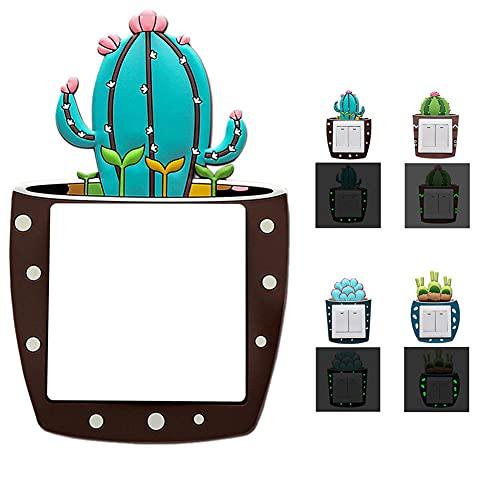 Iriisy 4Pcs Interruptor Pegatina Silicona Suave, Diseño de 3D Dibujos de Cactus, Arte Pegatinas Pared luminosa, Decoración Adhesiva de Interruptor, Suave Luz en Oscuridad, Adorno de Hogar