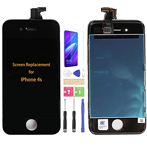 SRJTEK Compatible para iPhone 4s A1431 A1387 Pantalla LCD Sensor de Pantalla Táctil Piezas de Repuesto Digitalizador Totalmente Asmebly Kits (Negro Sin Marco)