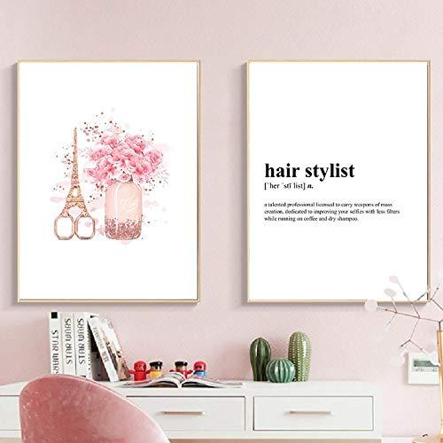 SHUTIAOQUN Fashion Poster haar stylist definition druk aquarel bloemen make-up muurkunst canvas schilderij Eiffel schaar afbeelding decor 50 * 70 cm * 2 zonder lijst