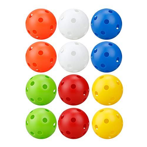 Crestgolf Pickleball Bälle 26 Löcher Perforierte Plastikspielzeugbälle Luftstrom Hohl Übungsbälle 70 mm, mit schönem Sprung 12-TLG-Mixed