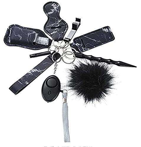 Taschen Persönlicher Alarm Schlüsselbund,Panik Alarm Schlüsselbund , 9 Stück Defensives Handgelenk-Schlüsselbundset, Unisex Black Marble