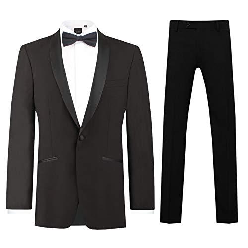 Dobell Herren Schwarzer Smoking-Anzug zweiteilig Schalkragen (106 Jackett mit 106 Hosen)