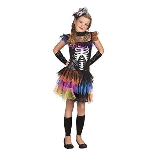 Costume bambina Principessa degli Scheletri con tutu multicolore (Taglia 10-12 anni)