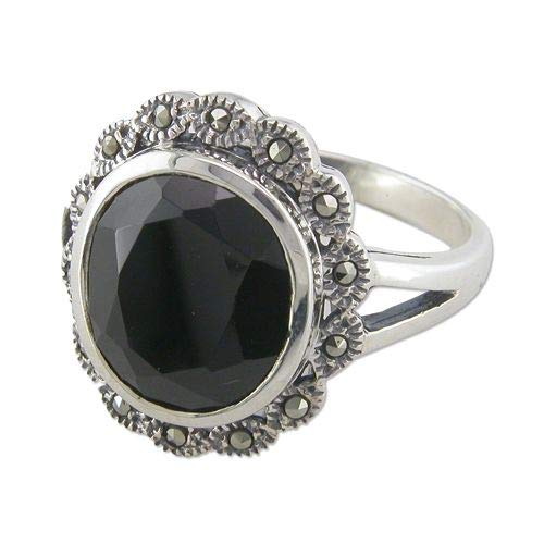 Genuine Sterling Silver Ring Oval Onyx/Marcasite Cluster Brand New