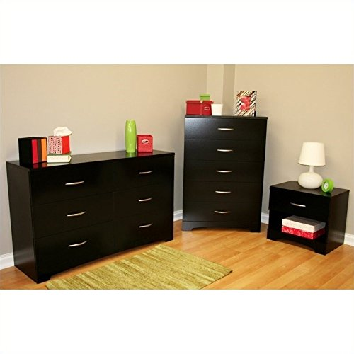 South Shore Maddox Dresser with Chest and Nightstand Set in Pure Black
