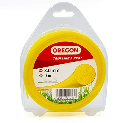 Oregon - Hilo redondo para desbrozadora, hilo de repuesto universal para todos los cabezales estándar, 3 mm x 15 m, color amarillo (69-368-YE)