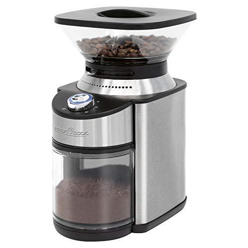 ProfiCook PC-EKM 1205 elektrisches Kaffeemahlwerk, 16-stufiger einstellbarer Mahlgrad (grob bis extra fein), geeignet für z.B. Filter- oder Siebträger, Handfiltration, türkischen Kaffee, Edelstahl