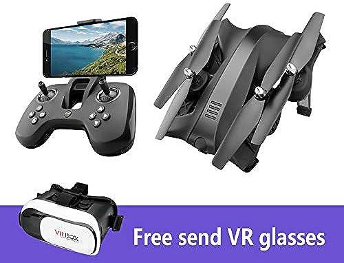 KYOKIM Faltbare 4-Achsen-Drohne Fernbedienung Und Mobile APP-Steuerung 5-Megapixel-Kamera Kostenlos Senden VR-Brille,schwarz-2batteries