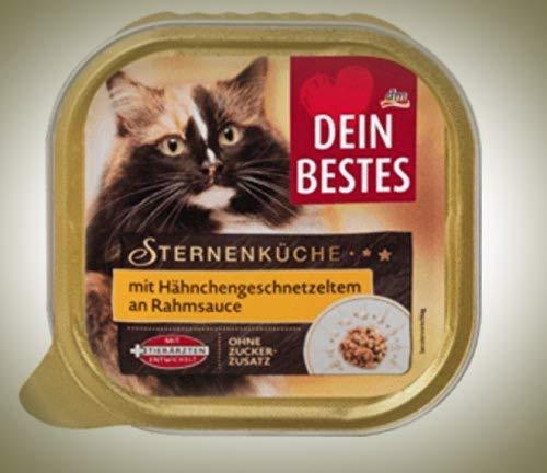 Dein Bestes Nassfutter für Katzen Sternenküche mit Hähnchengeschnetzeltem an feiner Rahmsoße, 12er Pack (12 x 100g)