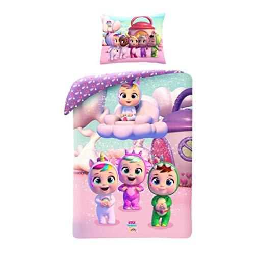 Halantex – CB-6103 – Juego de Cama Reversible Cry Babies con Funda de edredón 140x200cm y Funda de Almohada 70x90cm – Multicolor – 100% algodón