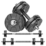 RUNWE Adjustable Dumbbells Barbell Set, Free Weight Set with Steel Connector at Home/Office/Gym Fitness Workout Exercises Training, All-Purpose for Men/Women/Beginner/Pro(40 lbs-2 Dumbbells in Total)