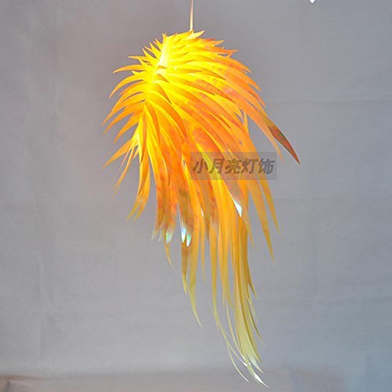 Zhang Ying ZY Moderne IRACUS DIY PVC Esszimmer Decke Pendelleuchten Schlafzimmer Arbeitszimmer Acryl Feder Flügel Pendelleuchte Balkon Flur Kunststoff Kronleuchter Leuchte (A-Gelb)