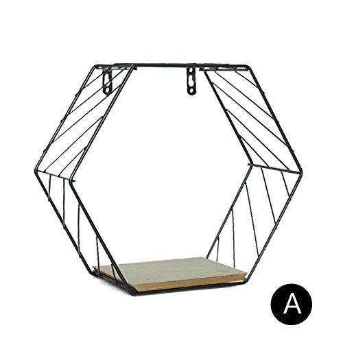 Sue Supply Estantes flotantes de Pared con Diseño de Hexágono de Madera, para Colgar en la Pared, con Cuerda de Cáñamo, para Decoración Artística, Negro, Small