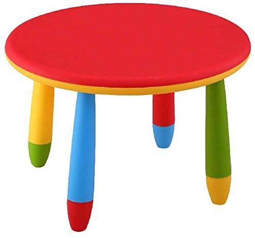 Mueblear 90049 - Mesa infantil redonda de plástico, desmontable, para niños, color Rojo