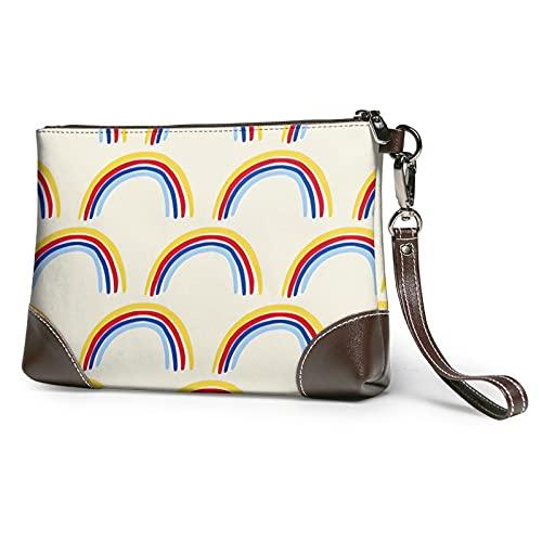 mengmeng Rainbows on beige Bolso de la muñeca Cuero auténtico Bolsos de pulsera para las mujeres bolso de embrague bolsos con correa de muñeca y cierre de cremallera