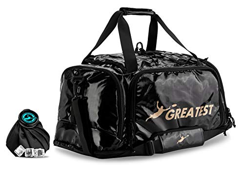 GREATEST Ultimate Bag 60 Liter - #1 World's Ultimate Frisbee Bag. Built in Insulated Cooler Compartment and Organization System. Also Perfect Sports Duffel Bag for Other Outdoor Sports (Gold)