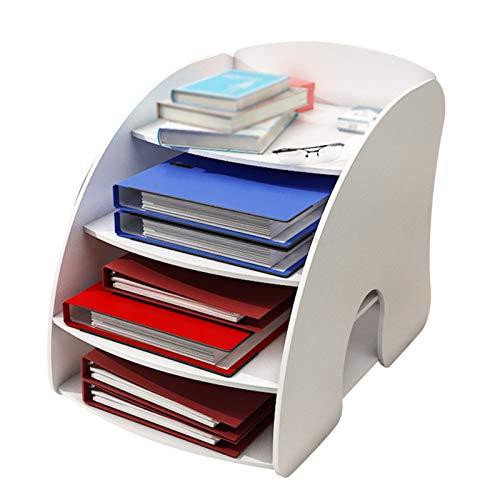 Independiente decorativo Racks de archivos, bastidores de datos de múltiples capas curvados, bastidores de almacenamiento de escritorio de suministros de oficina, cajas de archivos, para dormitorios d
