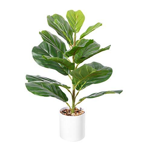 CROSOFMI Plantas Artificiales Exterior Ficus Lyrata 55 cm Plantas de Plastico Grande Hogar...