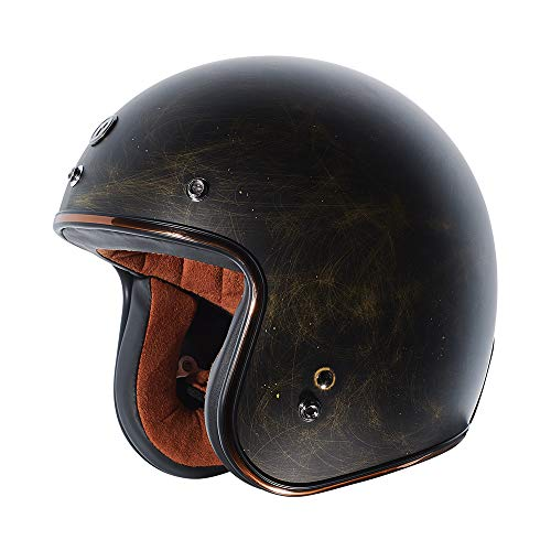TORC Unisex-Adult Open Face Motorcycle Helmet (Flat Black Weathered Bronze, Large)