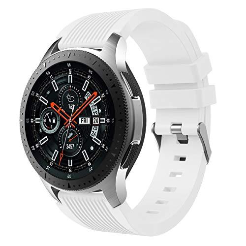 Pinhen - Cinturino di ricambio impermeabile in silicone per Samsung Galaxy Watch 42 mm/46 mm SM-R810/SM-R800 (46 mm, bianco)