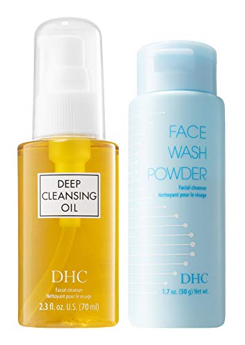 DHC Deep Cleansing Oil 2.3 fl. oz and Face Wash Powder, Exfoliating Double Cleanse, Hydrating, Makeup Remover, Fragrance and Colorant Free, Ideal for All Skin Types, 2.3 fl. oz and 1.7 oz. Net wt.