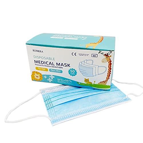 50 uds Mascarilla Quirúrgica IIR infantil Homologada CE, para niños   3 capas (BFE99%)   desechable - no Reutilizable   envío desde España   tamaño pequeño, color Azul